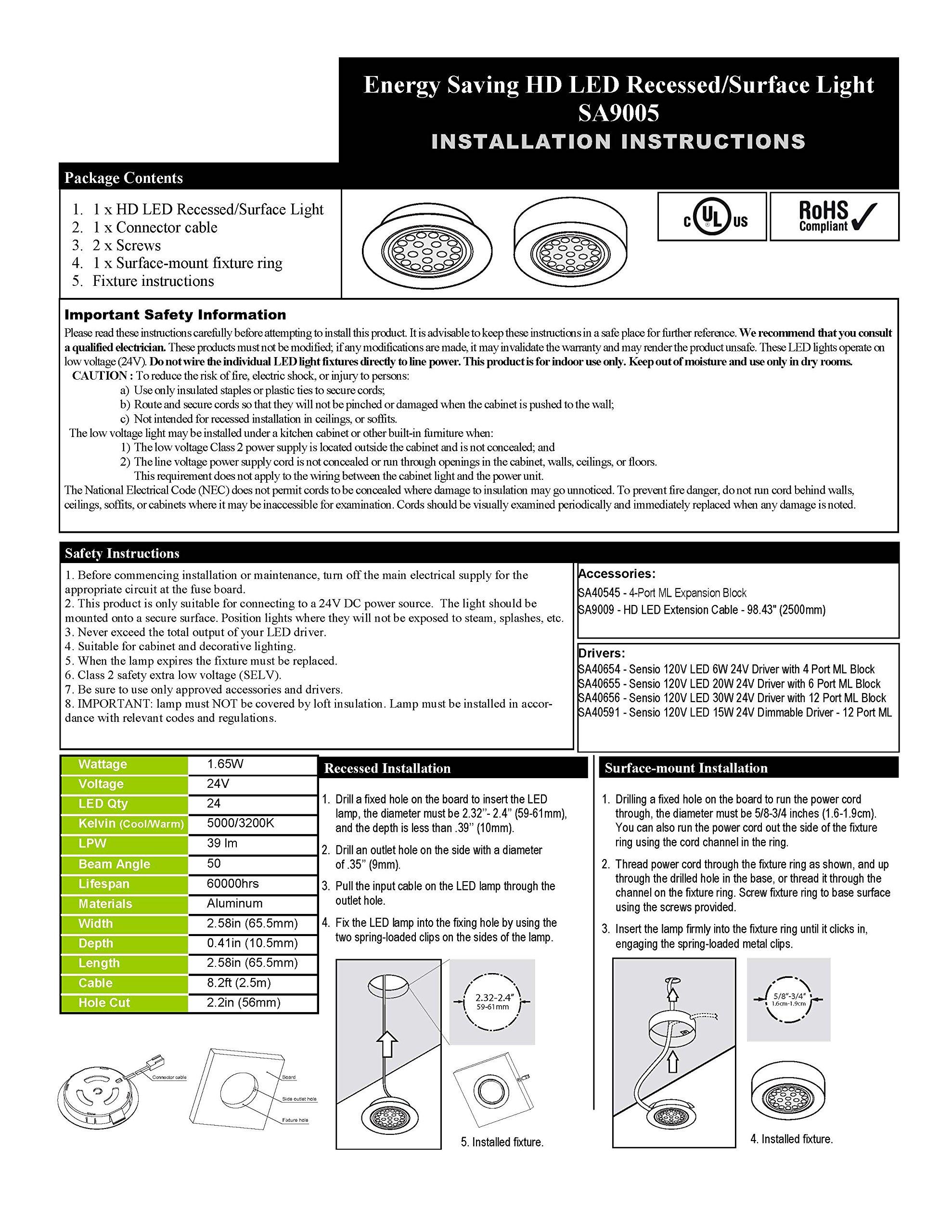 Transolid SA9005HDALWW Sensio HD LED 24V 1.65W Aluminum Recess-Surface Puck Light, Warm White