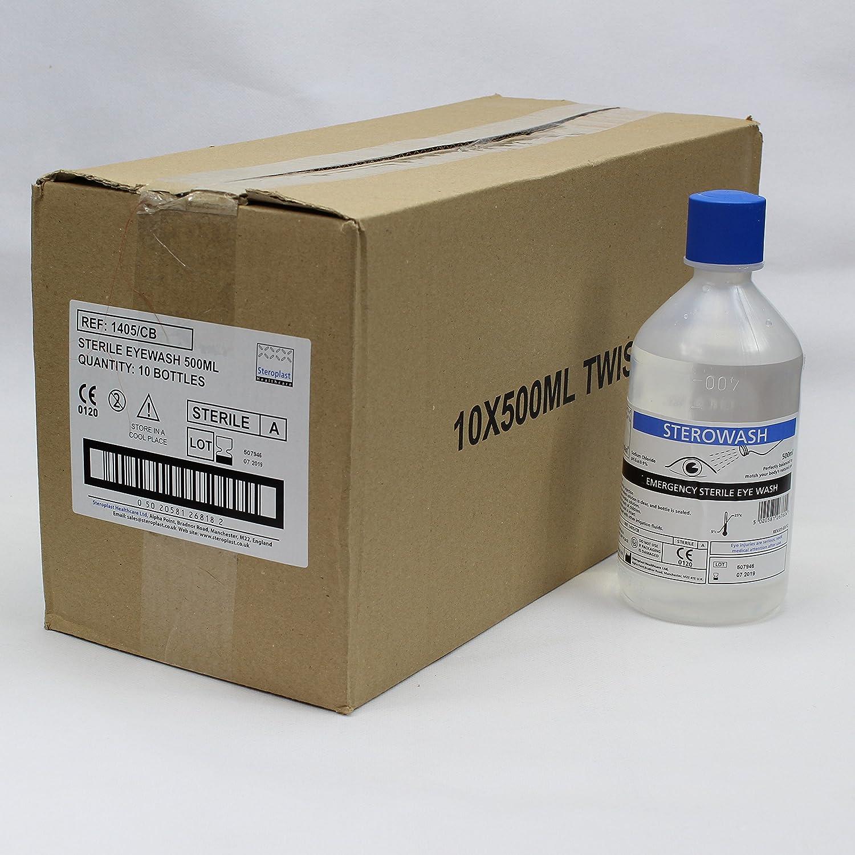 Sterowash 500 ml solución salina estéril 10 x 500 ml botellas de lavado: Amazon.es: Amazon.es