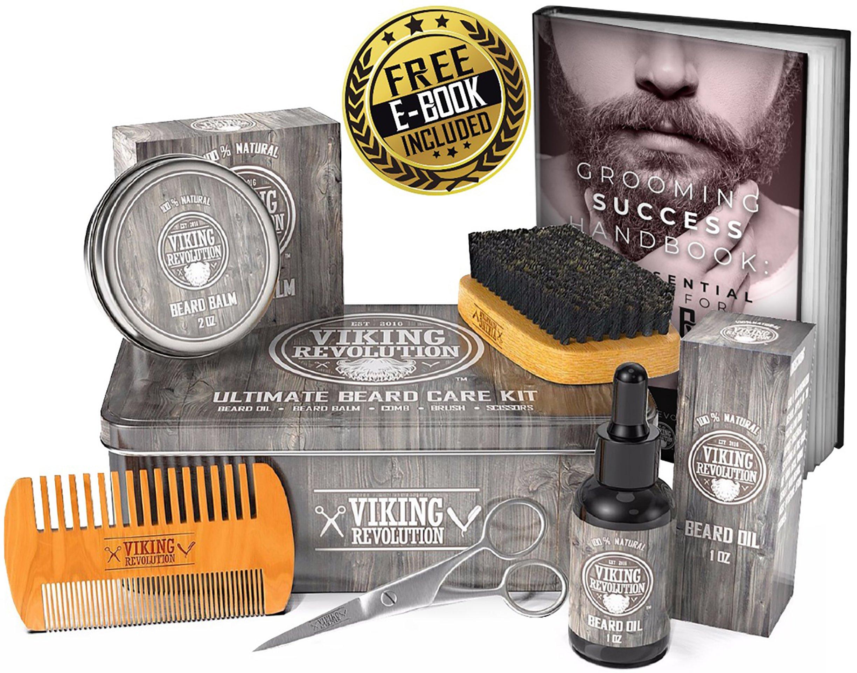 BEST DEAL Beard Care Kit for Men - Ultimate Beard Grooming Kit includes 100% Boar Beard Brush, Wood Beard Comb, Beard Balm, Beard Oil, Beard & Mustache Scissors and Metal Gift Box by Viking Revolution