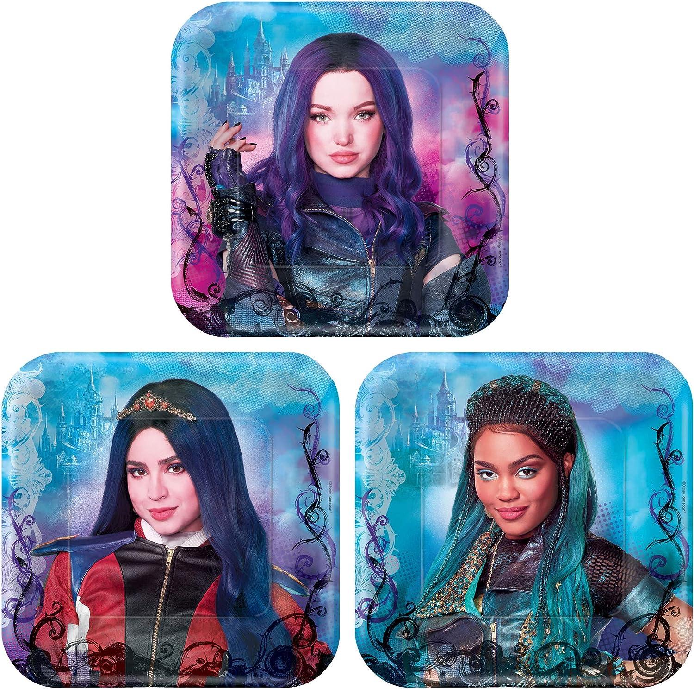 Disney Decendants 3-7 Square Plates 8 per Pack