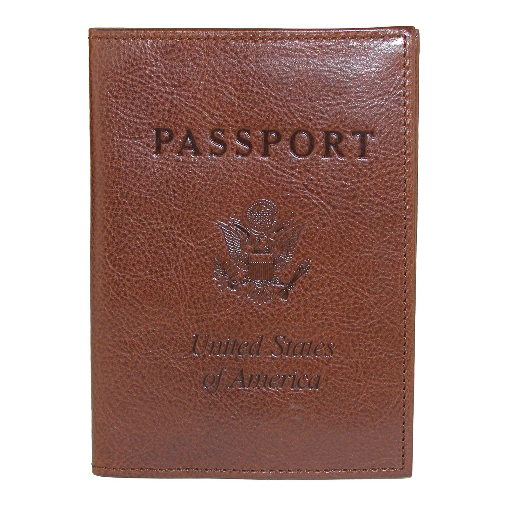 CrookhornDavis Men's Italian Vachetta Calfskin Leather Passport Cover, Brown
