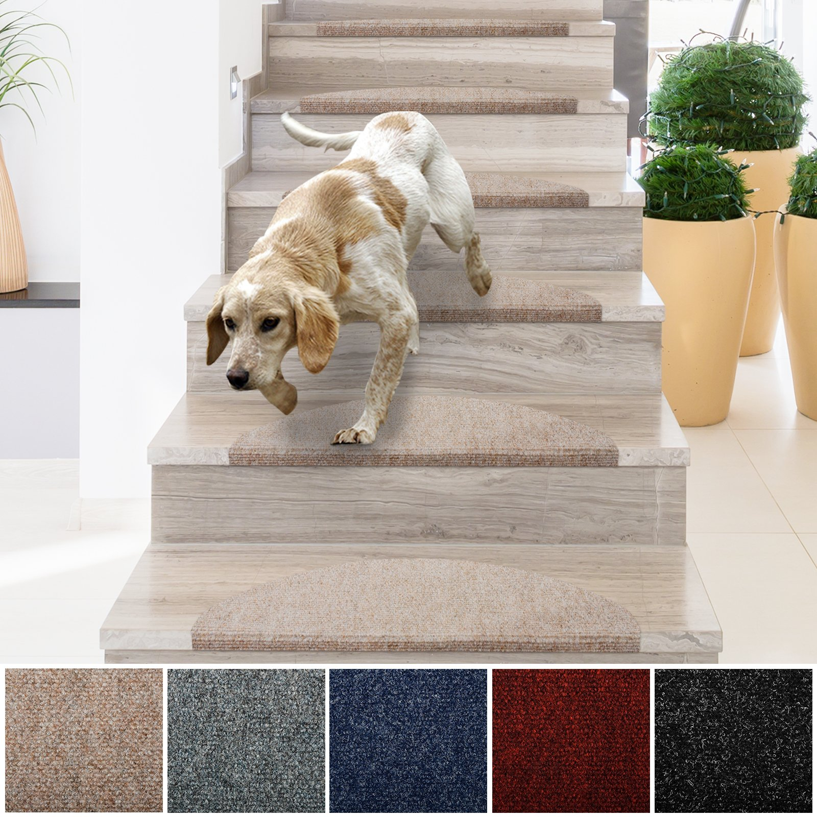casa pura Stair Treads   Non-Slip Indoor Stair Protectors   Set of 15 Modern Step Mats for Hard Floor Staircase   Multiple Colors   10'' x 26'' (Beige)