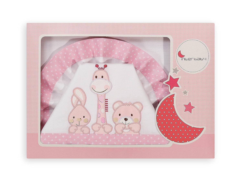 INTER BEBÉ 04069-12 juego de cama para cuna - Mod Amigos 2014 3 pieza, blanco/rosa Interbaby ES