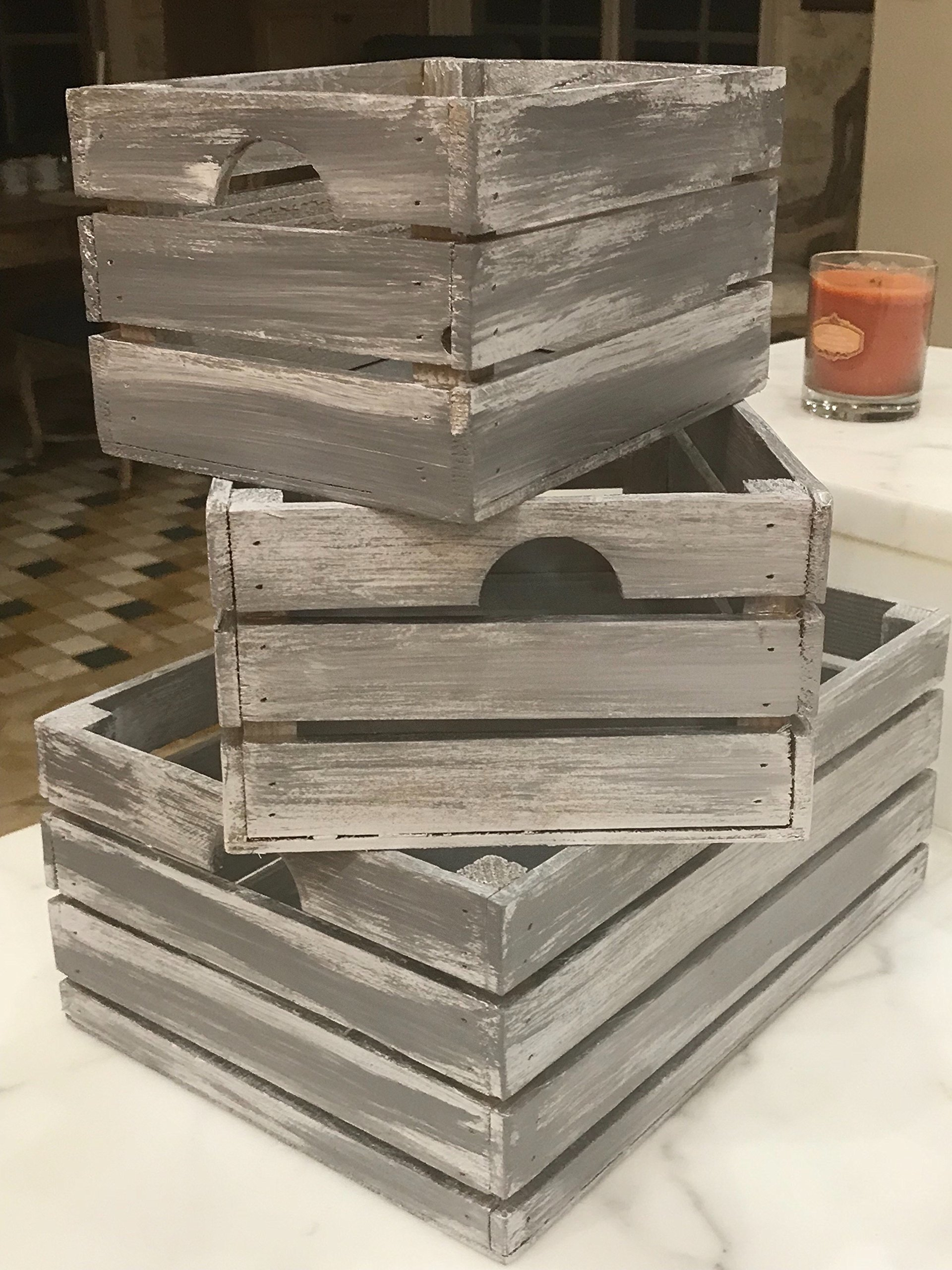 Winship Stake and Lath, Inc. Rustic Decorative Wood Crates (Set of 3) - Cottage Grey Distressed by Winship Stake and Lath, Inc. (Image #4)
