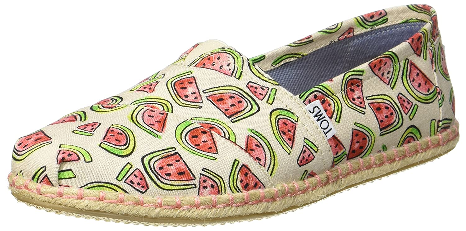 Amazon.com | TOMS Womens 10009717 Naturl/Pink Watermelon Alpargata Flat | Shoes