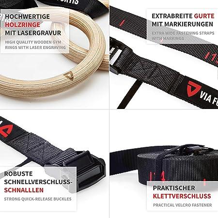 Via Fortis Premium Turn para anillos de madera con bolsa – Gym calist henics & Crossfit – extrapanorámicas correas de fijación con marcas – ...
