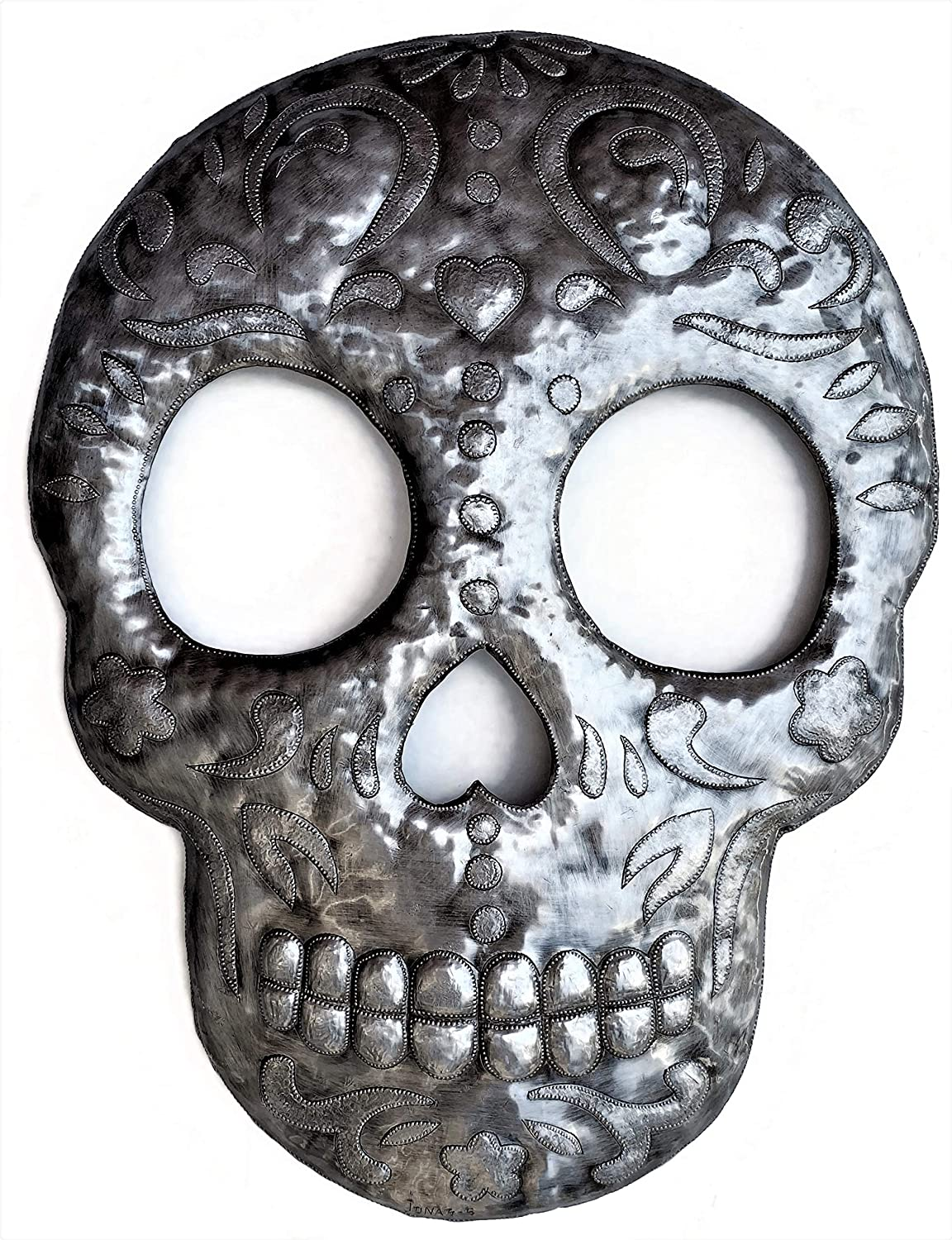 Large Sugar Skull Metal Wall Hanging, Day of Dead Decor, Skeleton Indoor Outdoor Halloween Decoration, Handmade in Haiti from Recycled Steel Barrels 17.5 x 23 Inches