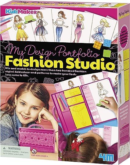 Amazon Com 4m Kidzmaker My Design Portfolio Fashion Studio Kit Multi Toys Games