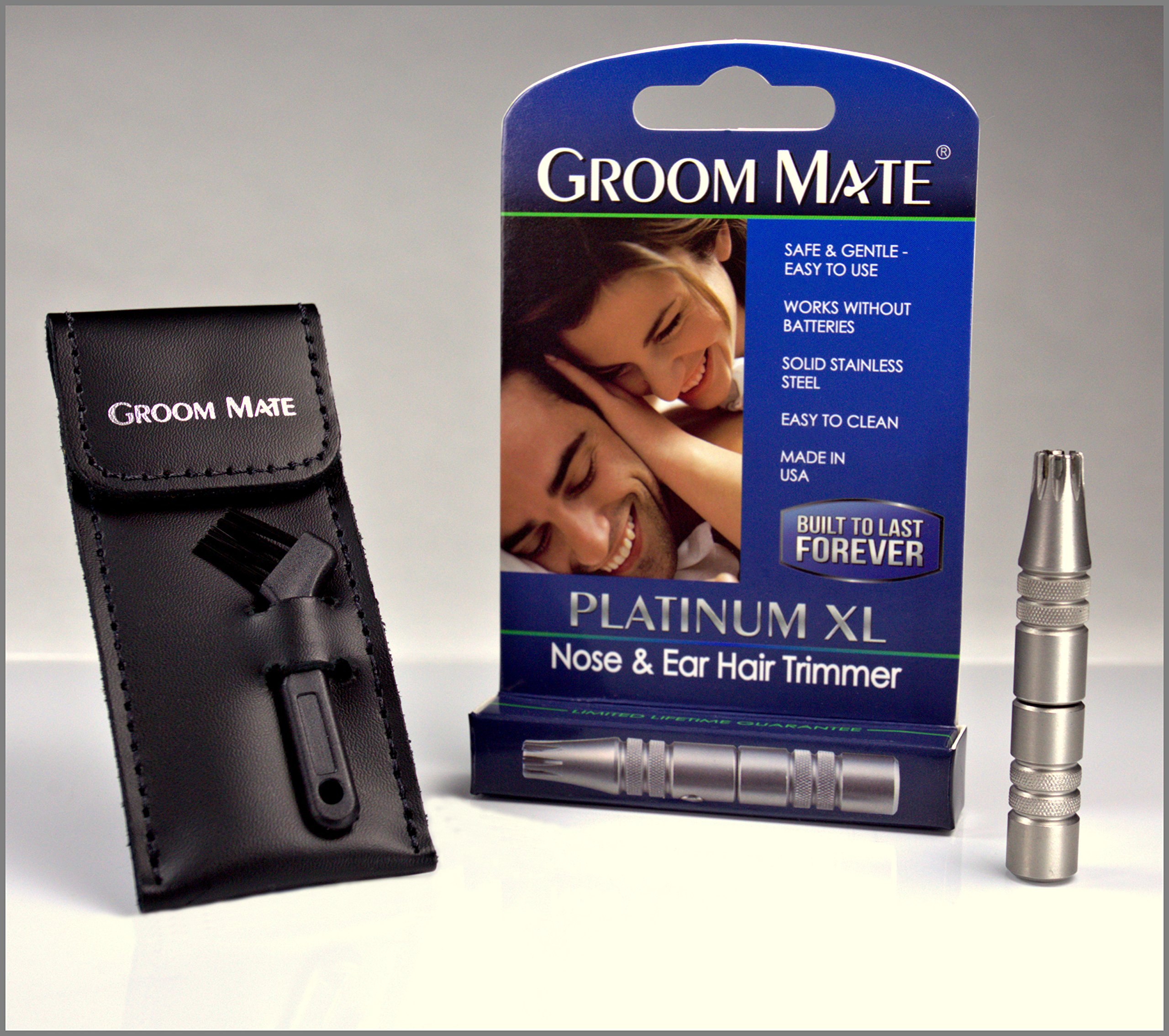 Groom Mate Platinum XL PLUS - Nose Hair Trimmer -w/Leather Pouch & Brush - Lifetime Warranty - Made in the USA