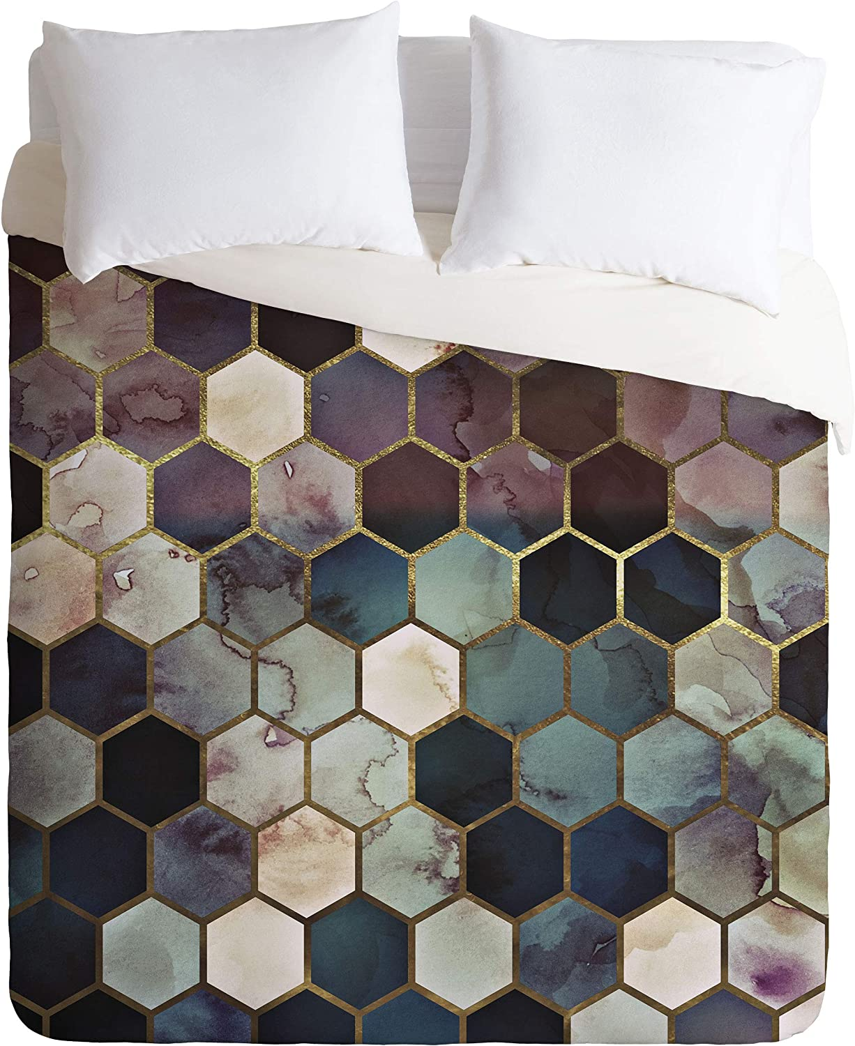 Society6 Monika Strigel Rugged Marble Hexagon King Duvet Cover and 2 Pillow Shams Set, Multi