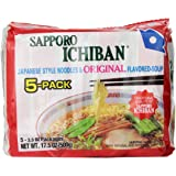 Sapporo Ichiban Original Ramen Noodles, 5 Count, 17.50 Ounce (Pack of 6)