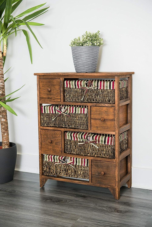 Cajonera grande de madera y mimbre, con cestas y cajones, estilo retro desgastado, color marrón, de alta calidad, vendedor del Reino Unido: Amazon.es: Hogar