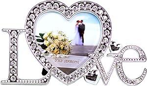 VI N VI Love Picture Frame Covered in Silver Rhinestones