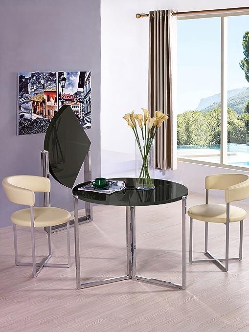 Viva Home LLC H-1004BG Rosa Foldable Round Dinning Table, Glossy Back