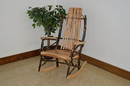 A U0026 L Furniture 2020 Hickory 9 Slat Rocker Chair, Rustic Hickory