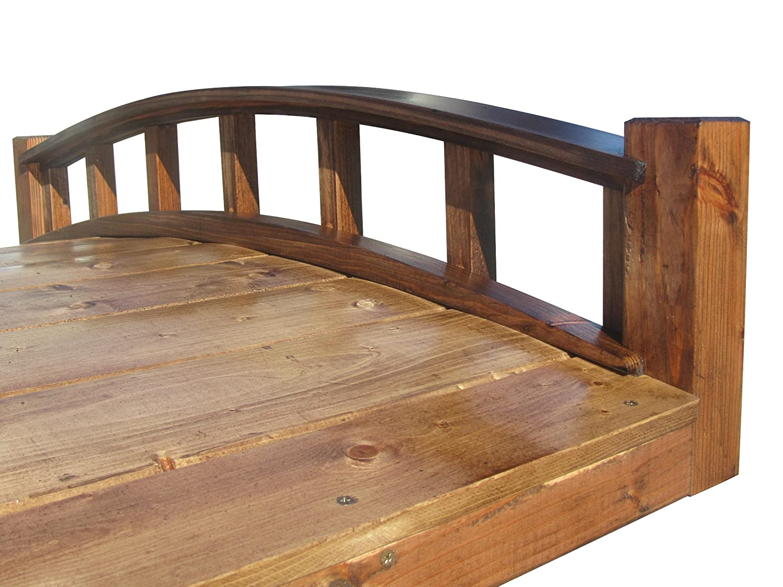 amazoncom samsgazebos moon bridges japanese style arched wood garden bridges 4 feet treated brown patio lawn garden