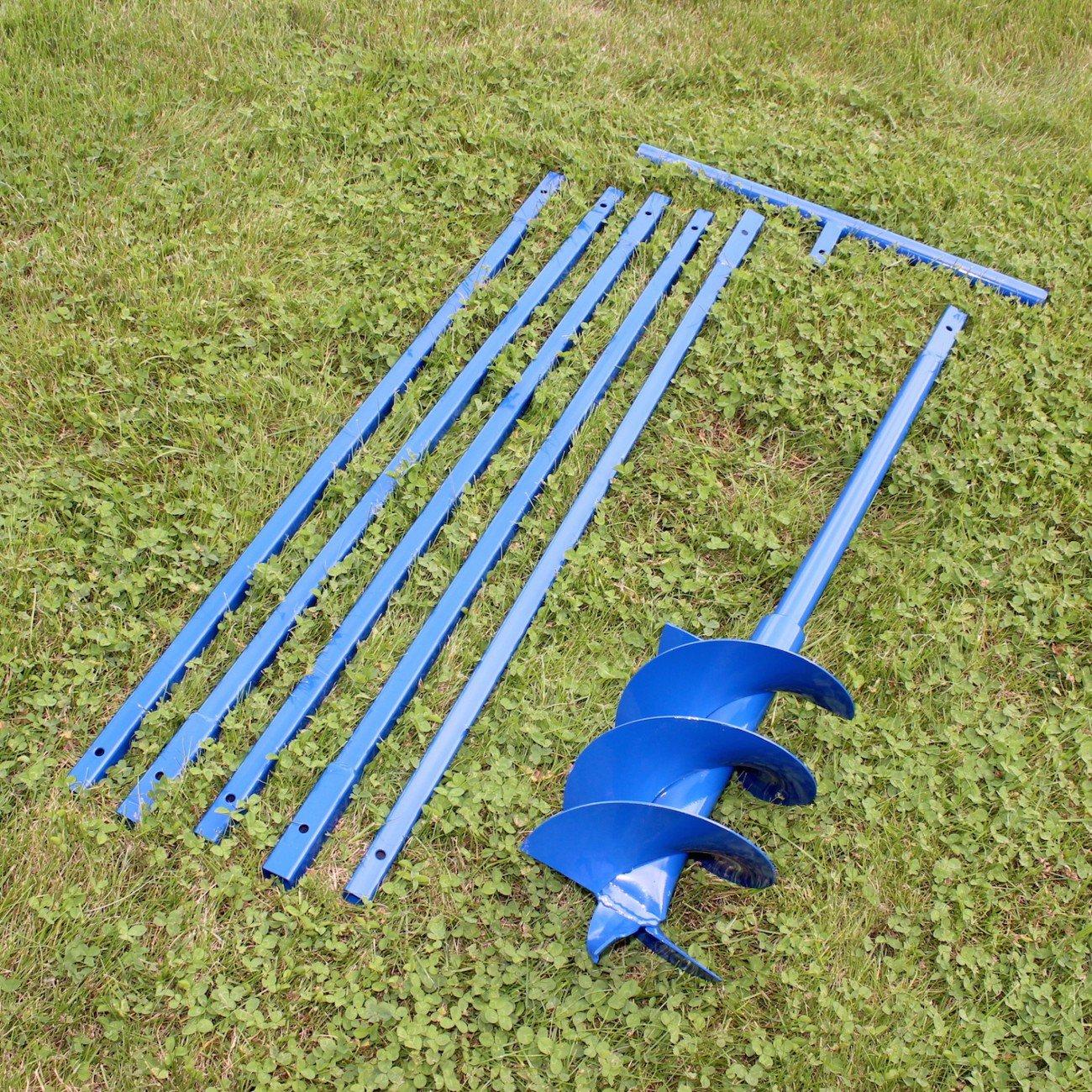 Brunnenbohrer / Erdbohrer zum Selberbohren von Brunnen oder tiefen Löchern, 200 mm / 20 cm x 6 Meter ( 5 Stücke 1 m lang), robuste Stahl Ausführung lackiert