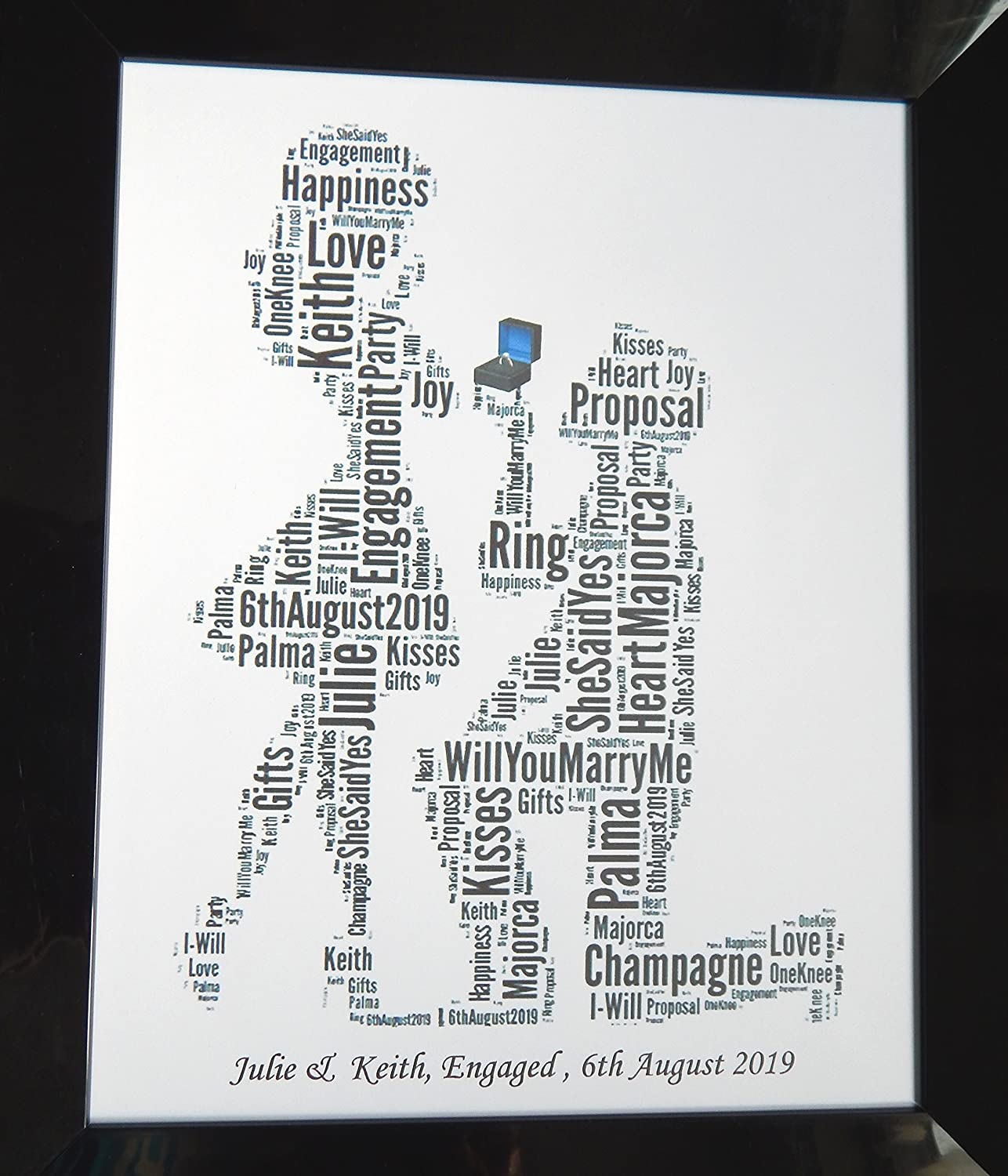 New Personalised Engagement Word Art Design B Presented In 8 X 10