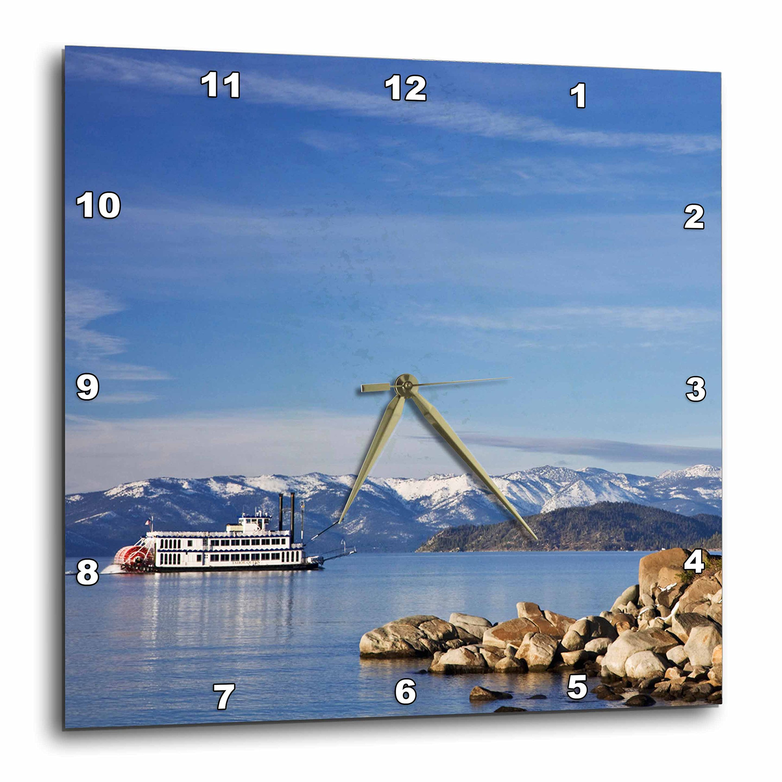 3dRose DPP_92195_1 Nevada, Lake Tahoe Paddleboat Across The Lake - US29 BJA0037 - Jaynes Gallery - Wall Clock, 10 by 10-Inch by 3dRose