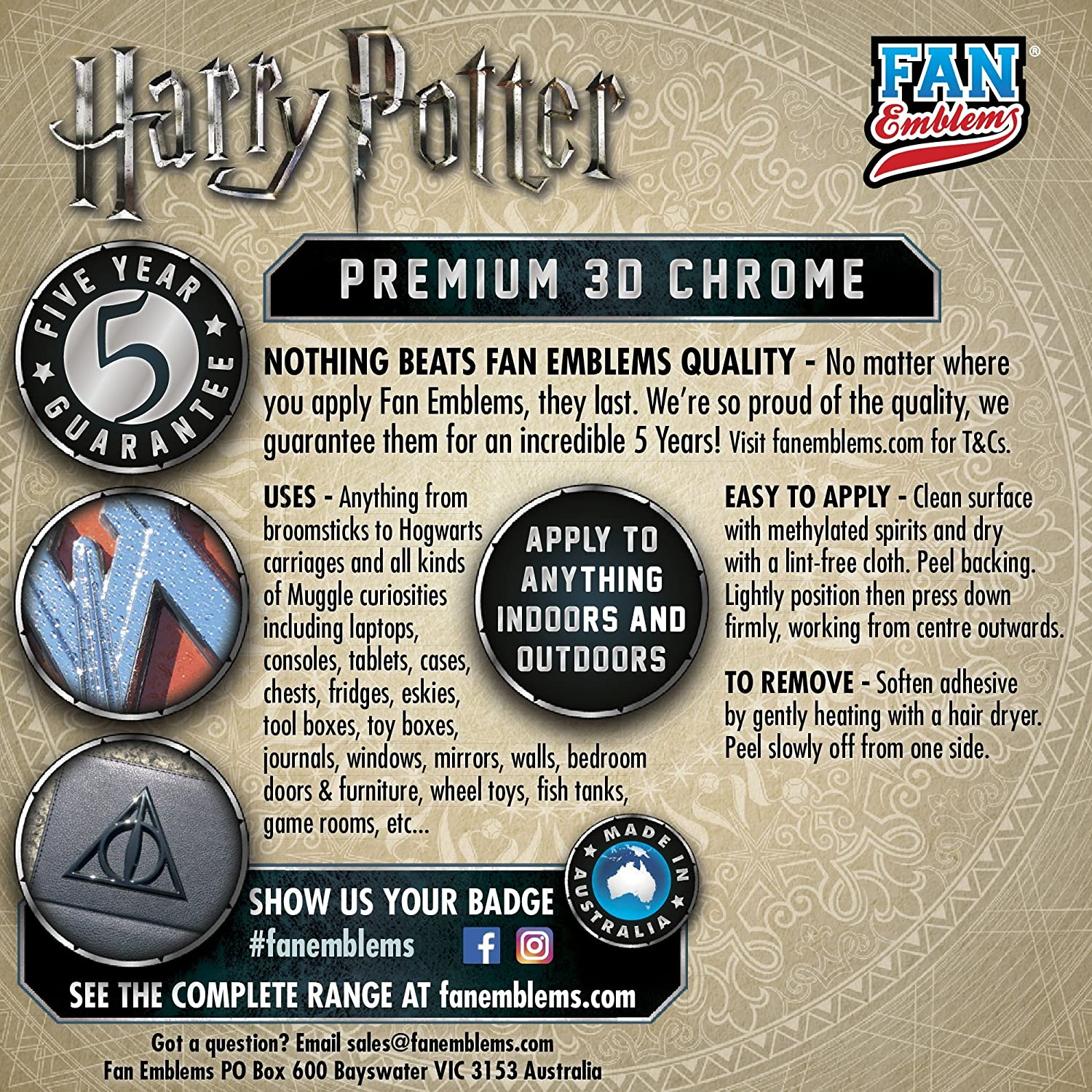 Windows Trucks Fan Emblems Deathly Hallows 3D Car Emblem Chrome Motorcycles Almost Anything LNI Australia 9672-111 Harry Potter Automotive Sticker Decal Badge Flexes to Fully Adhere to Cars Laptops