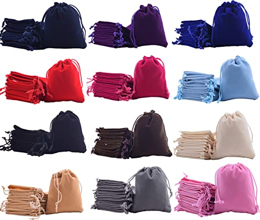 Sansam 48pcs Small 12 Colors Mixed Drawstrings Velvet Gift Bags Velvet Jewelry Pouches for Wedding Favors, Candy Bags, Party Favors, 2.8x3.6''