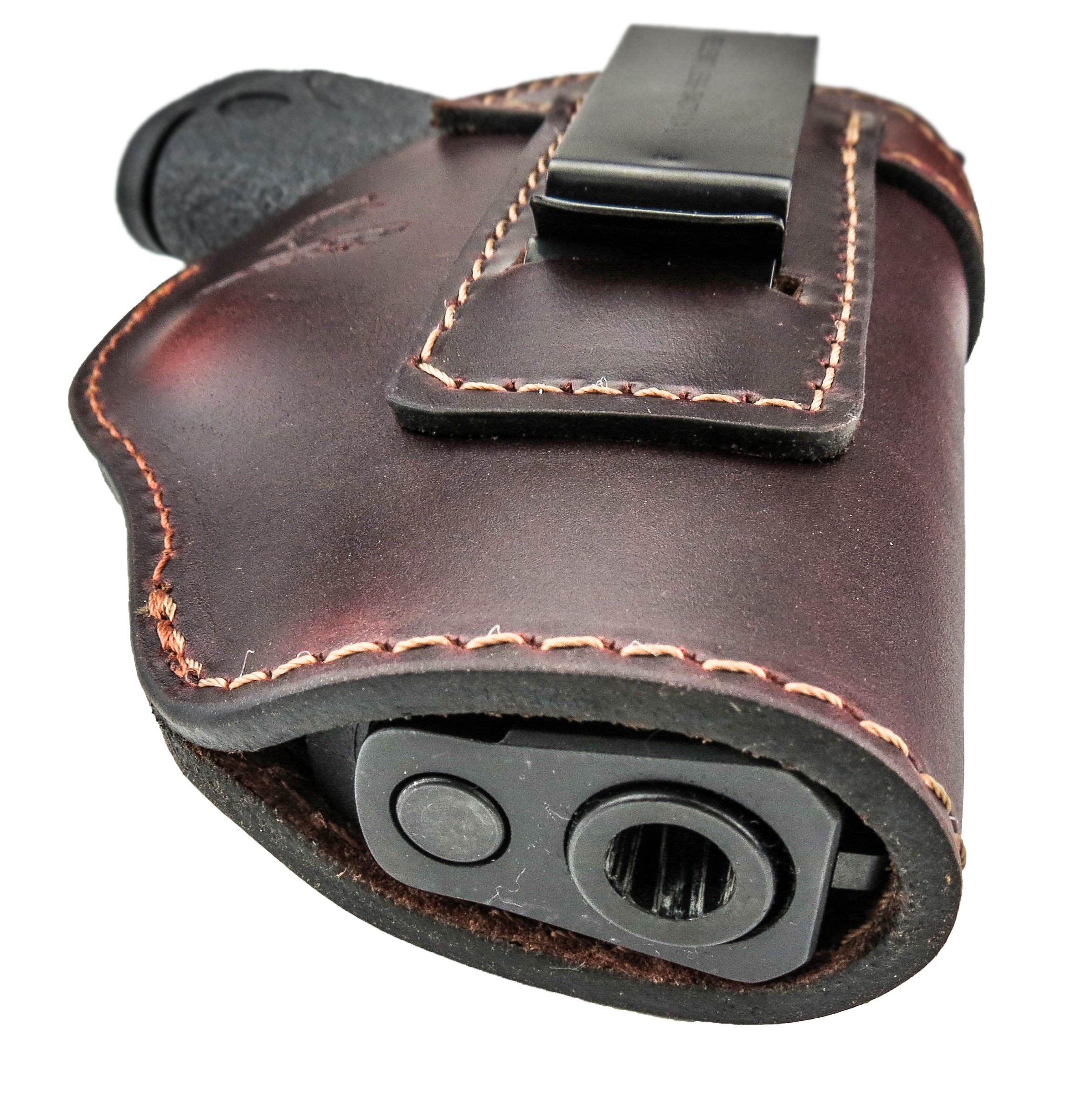 Relentless Tactical The Defender Leather IWB Holster - Made in USA - For S&W M&P Shield - GLOCK 17 19 22 23 32 33/Springfield XD & XDS/Plus All Similar Sized Handguns – Brown – Right Handed by Relentless Tactical (Image #5)