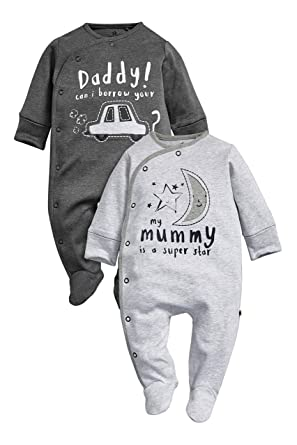 next Bebés Niños Paquete De 2 Pijamas Peleles Rosas Mum And Dad Azul Marino Pizarra (