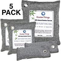 KoolerThings Activated Bamboo Charcoal Bag Odor Remover Variety 5 Pack (1 x 500g) (2 x 200g) (2 x 75g) Air Purifying Bags for Home, Car, Closet, Shoes
