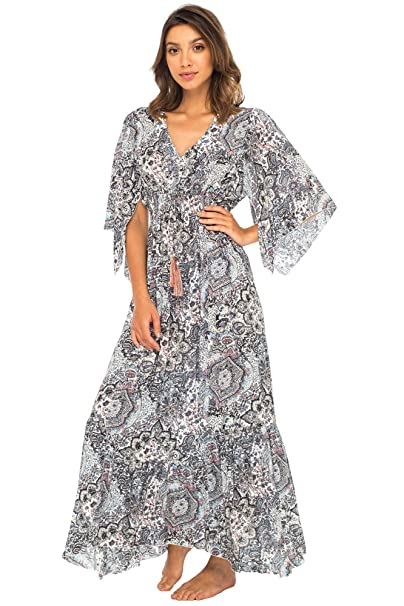 bdc3d37dd43a79 Back From Bali Womens Long Maxi Dress Boho Print Summer Sundress Deep V  Neck Long Sleeves