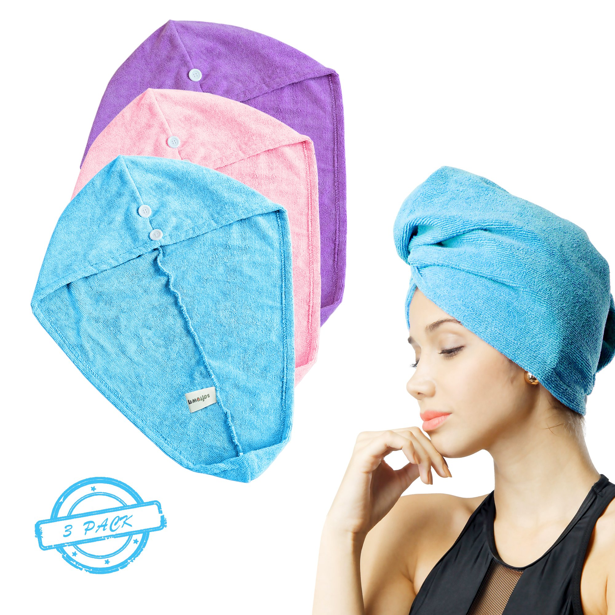SOFTOWN Microfiber Hair Drying Towel Wrap Super Absorbent for Women with Short Hair (11 x 28 inch, 3 Colours pack)