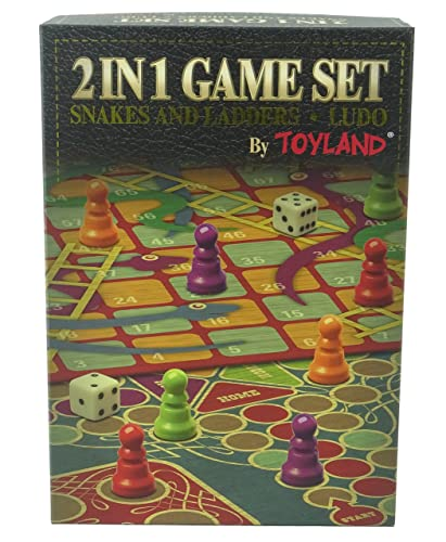 Toyland® 2 in 1 Family Board Game Set - Snakes & Ladders and Ludo - Traditional Board Games