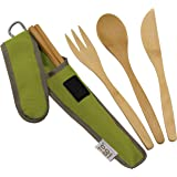 Bamboo Travel Utensils - To-Go Ware Utensil Set with Carrying Case (Avocado)