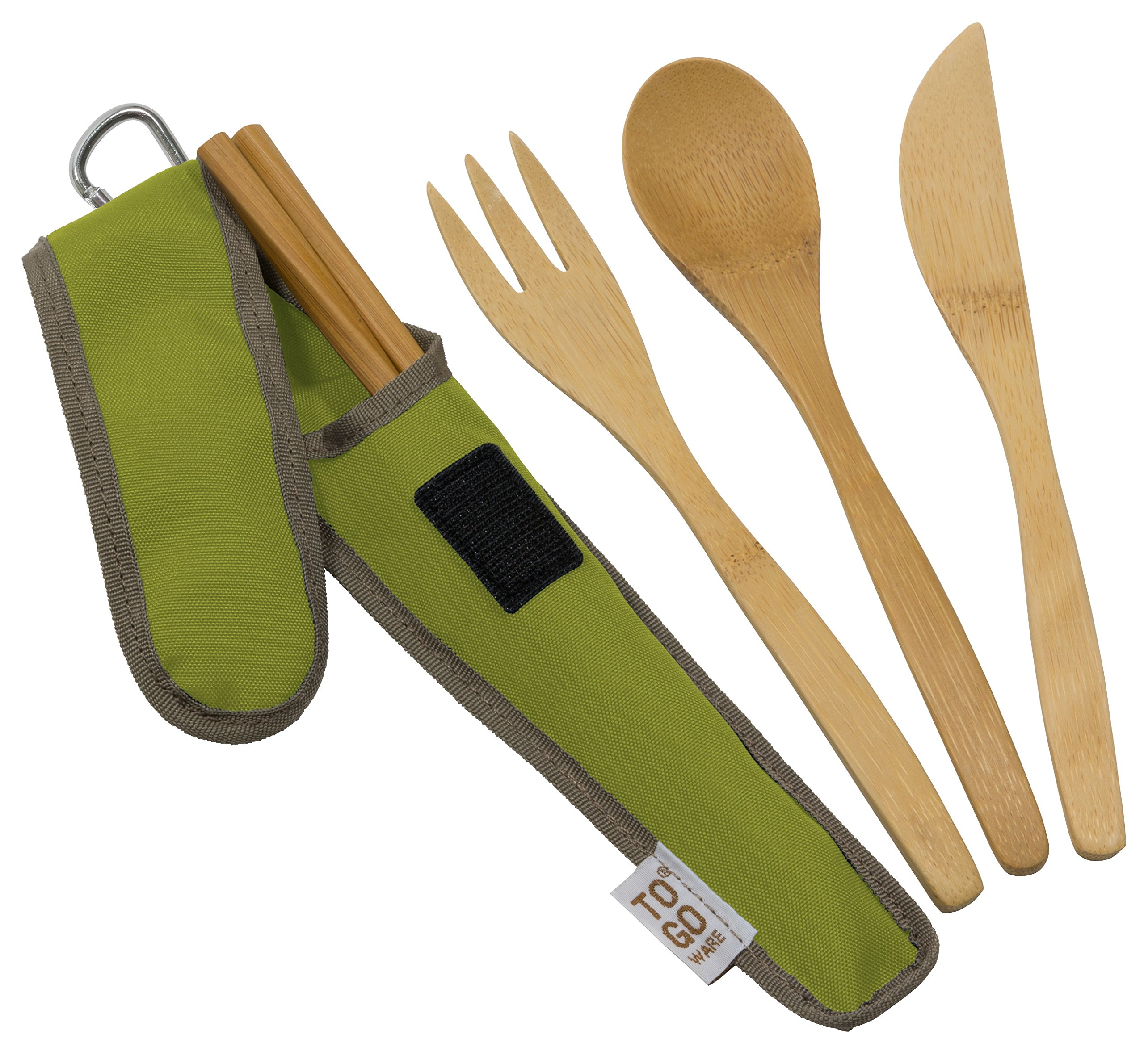 Bamboo Travel Utensils - To-Go Ware Utensil Set with Carrying Case (Avocado) (705105479308)