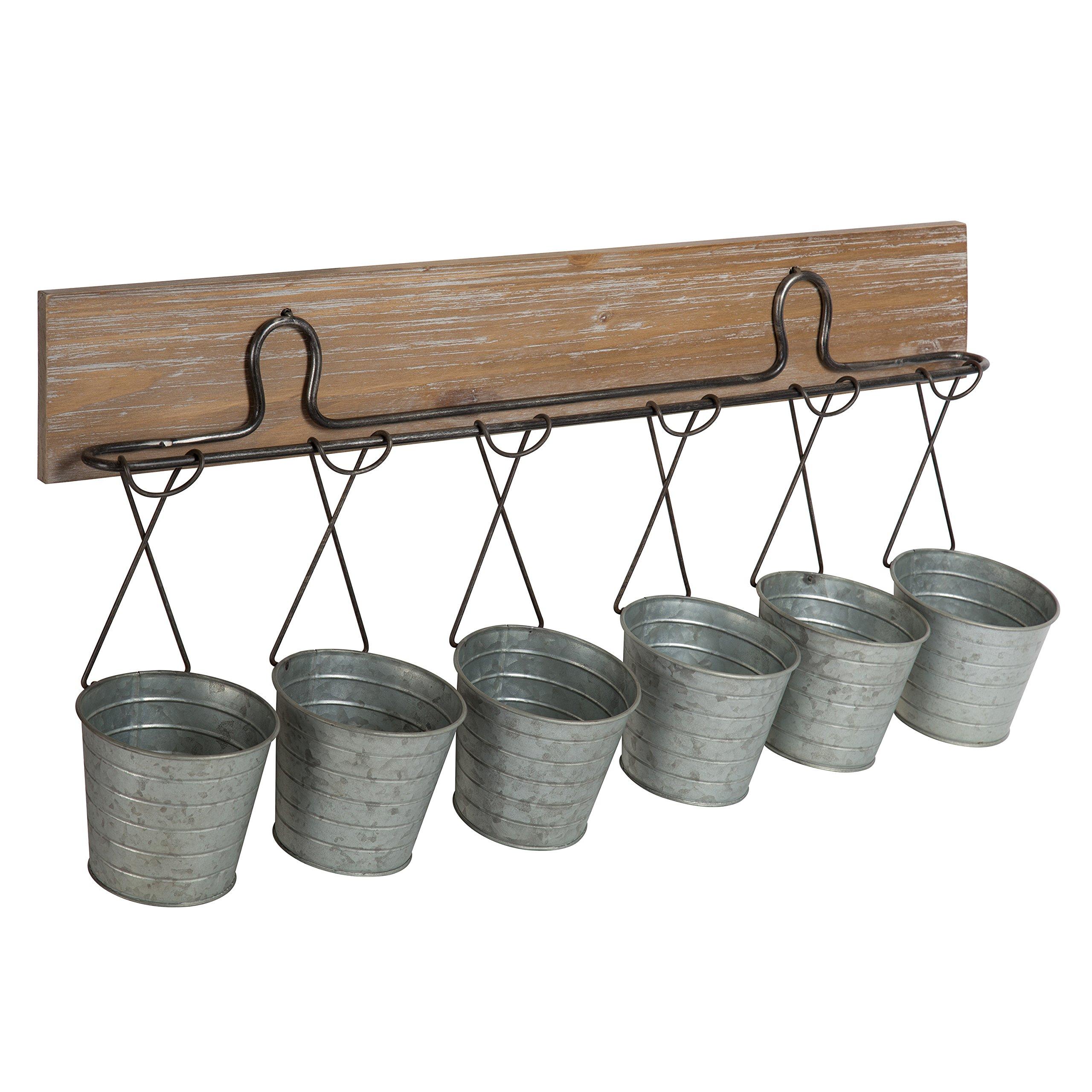 Kate and Laurel Pailey Wall Mounted Multi-Functional Wall Storage Organizer or Planters with Rustic Wood Plaque and 6 Galvanized Mini Metal Buckets by Kate and Laurel