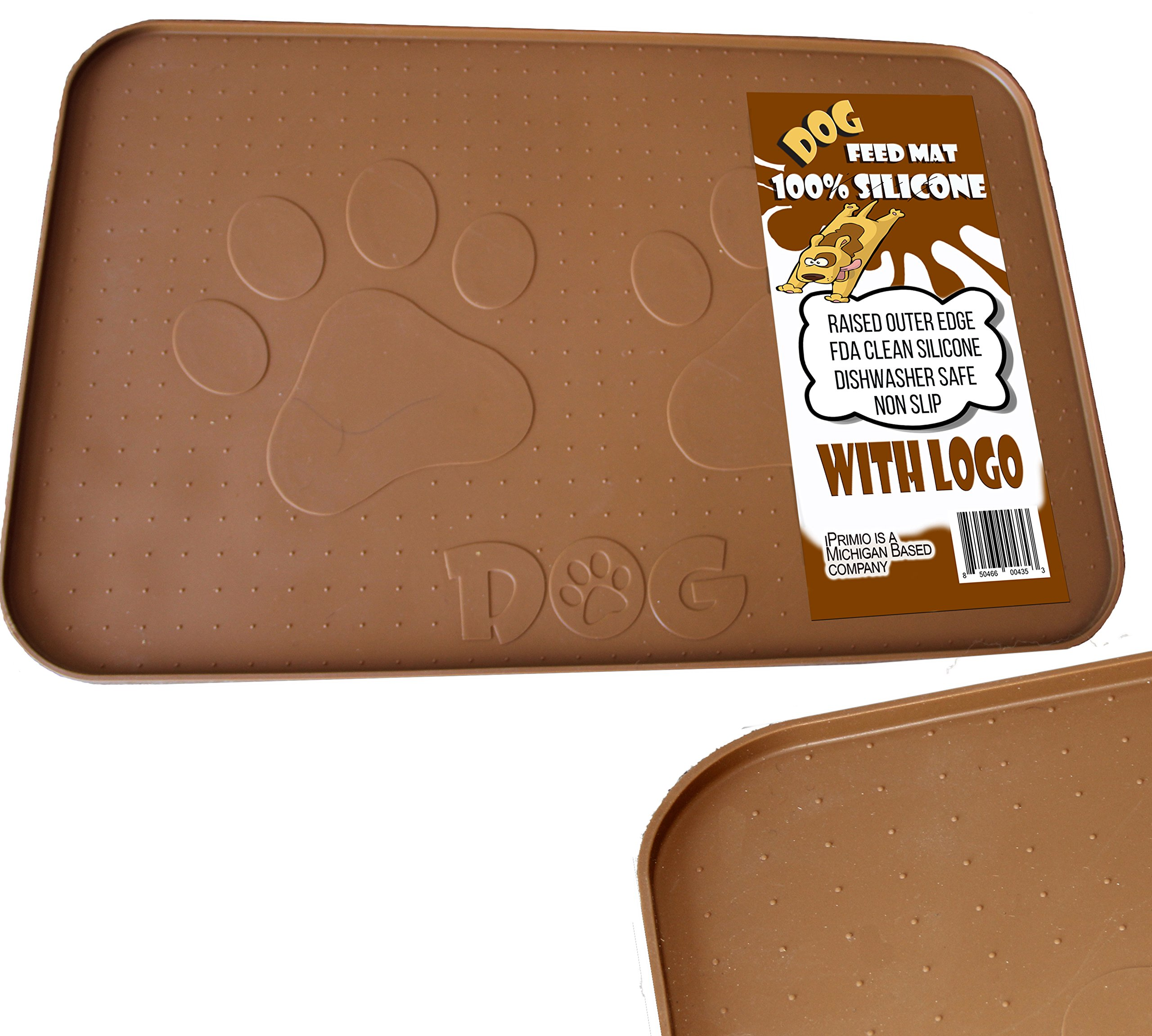 iPrimio Large Dog Feeding Mat with Paw Logo. Premium FDA Silicone (Brown - 22'' X 14'') Perfect Size. Hygienic and Safe for Allergic Dogs. Dishwasher Safe. Aniti Spill Edge. No Slip.