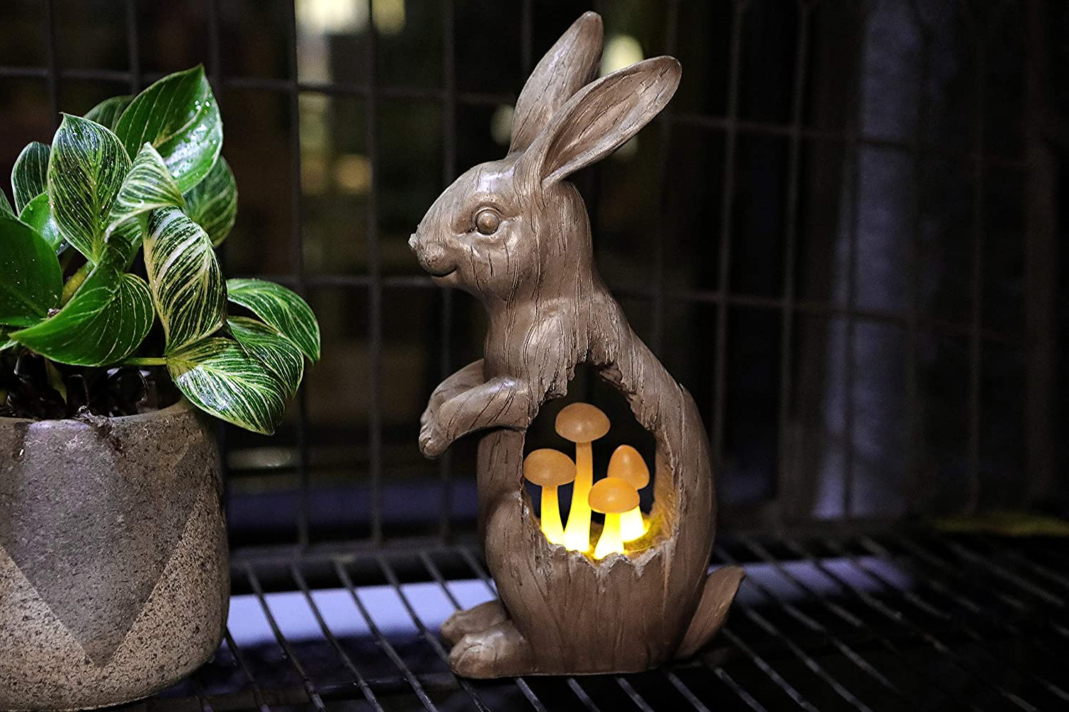 "Joyathome Solar Garden Bunny Statues Rabbit with Mushroom Figurine, Solar Powered Resin Animal Sculpture Outdoor Lights for Patio Lawn,Yard ATR Garden Sculpture Decorations,11.7""H"