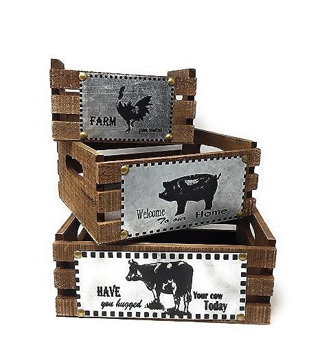 Wooden Crates Decorative Countertop Organizer Farmhouse Country Decor Fruit Storage Pantry Utility Baskets Set Of