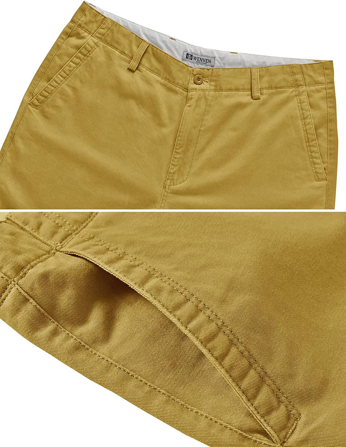 WenVen Mens 10 Inch Flat Front Chino Shorts