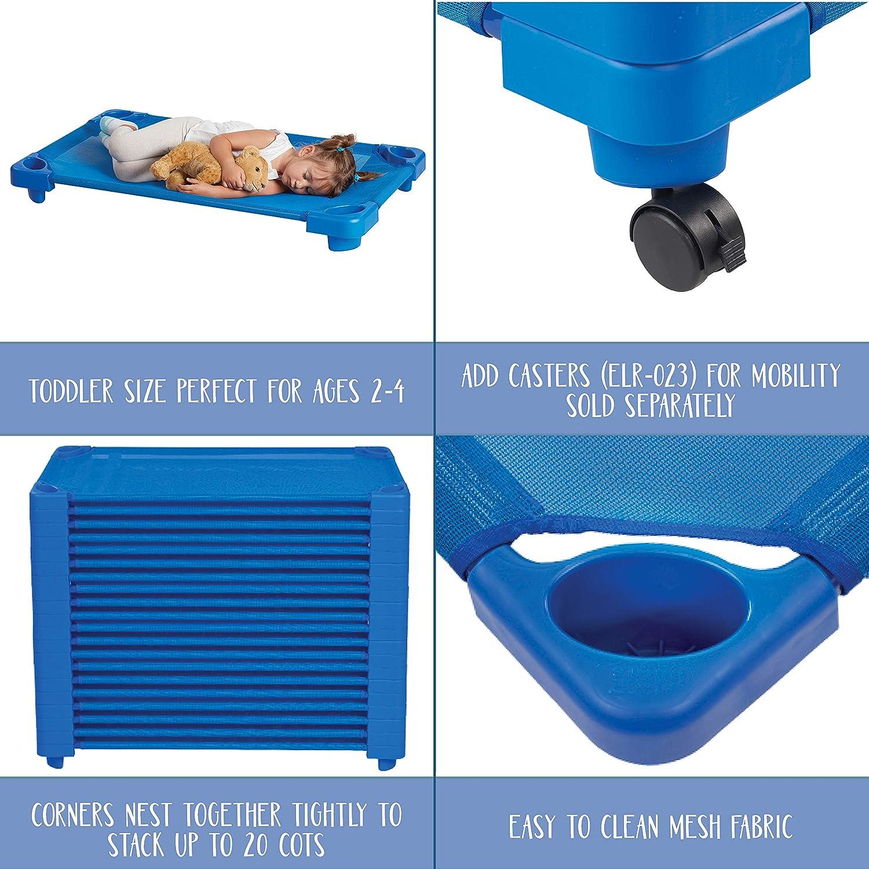 Toddler Assembled 23 x 40 ECR4Kids montiert blau stapelbar kindertagesbetreuung Rest Time Kinderbett /& Rollen 1