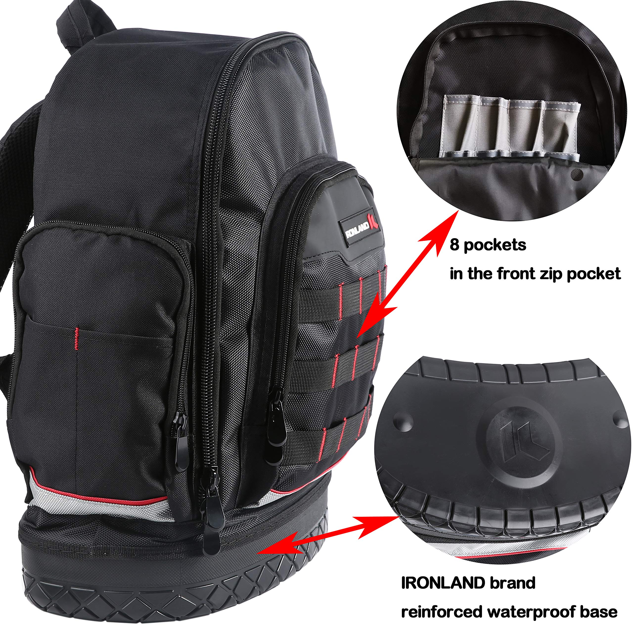 Electrician Tool Bag Backpack with Waterproof Molded Base, BP-005 by IRONLAND (Image #4)