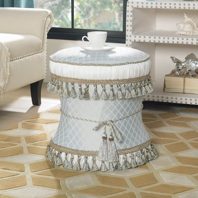 Jennifer Taylor Home Daisy Decorative Ottoman, ICY Blue