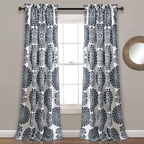 Lush Decor, Navy Evelyn Medallion Room Darkening Window Curtain Panel Pair, 95 x 52 2 Header