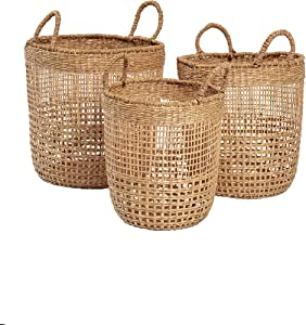 Acre & Isle Delta Woven Seagrass Storage Baskets - Set of Three Decorative Baskets for Organizing or Covers for Indoor Houseplants. Hand Woven, Ideal for Coastal, Boho, Farmhouse or Nordic Home Decor