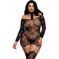 Dreamgirl Women's Plus Size Lace Patterned Knit Garter Dress with Stockings, Black, One Queen