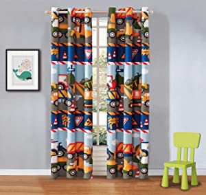 Fancy Linen 2 Panel Curtain Set Under Construction Zone Trucks Tractors Light Blue Red Yellow Dark Blue New