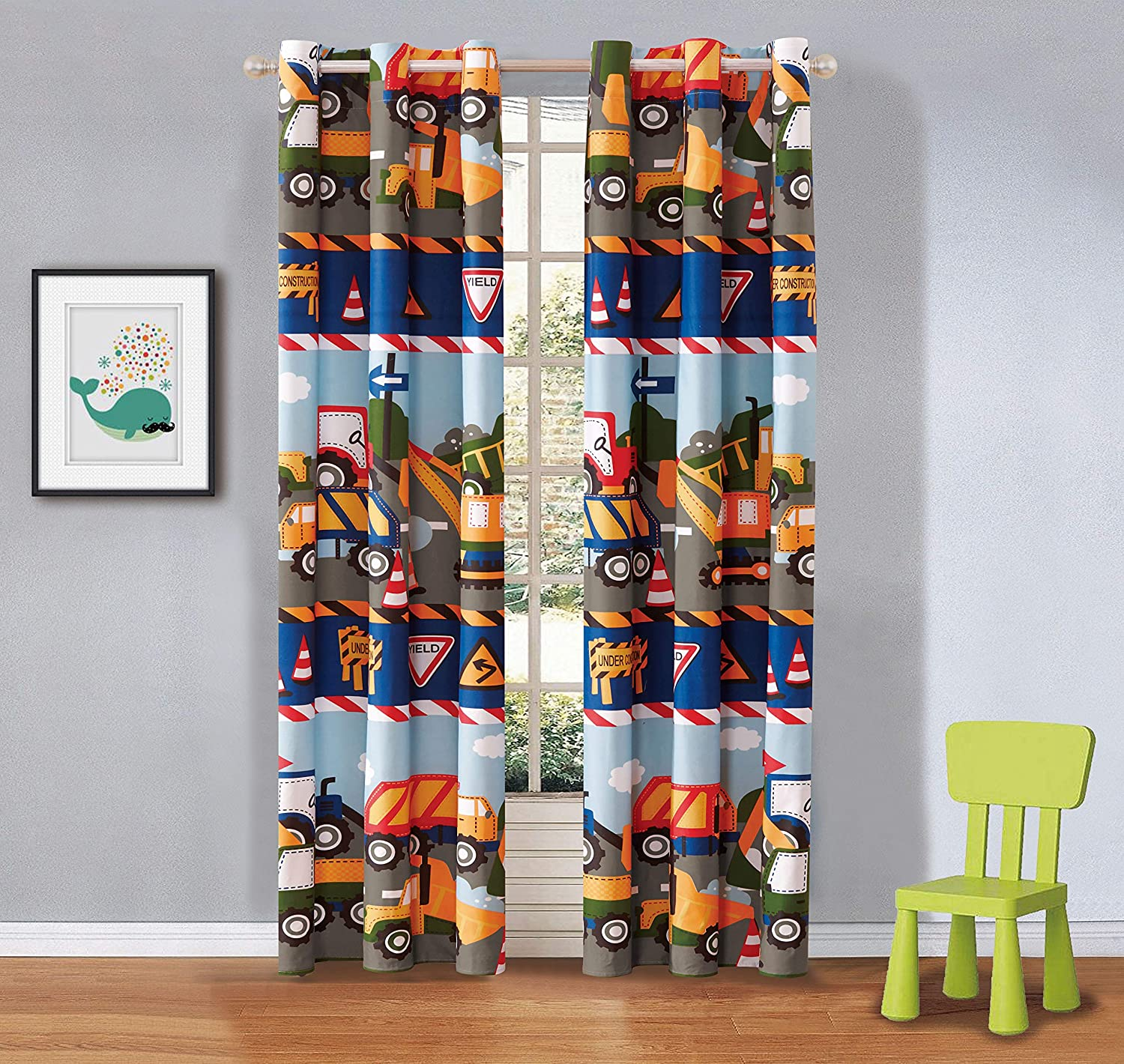 Linen Plus 2 Panel Curtain Set for Kids Construction Tractors Blue Red Green Yellow Grey White New