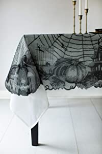 "Benson Mills Spooky Spider Web Lace Fabric Halloween Tablecloth (Black, 70"" Round)"