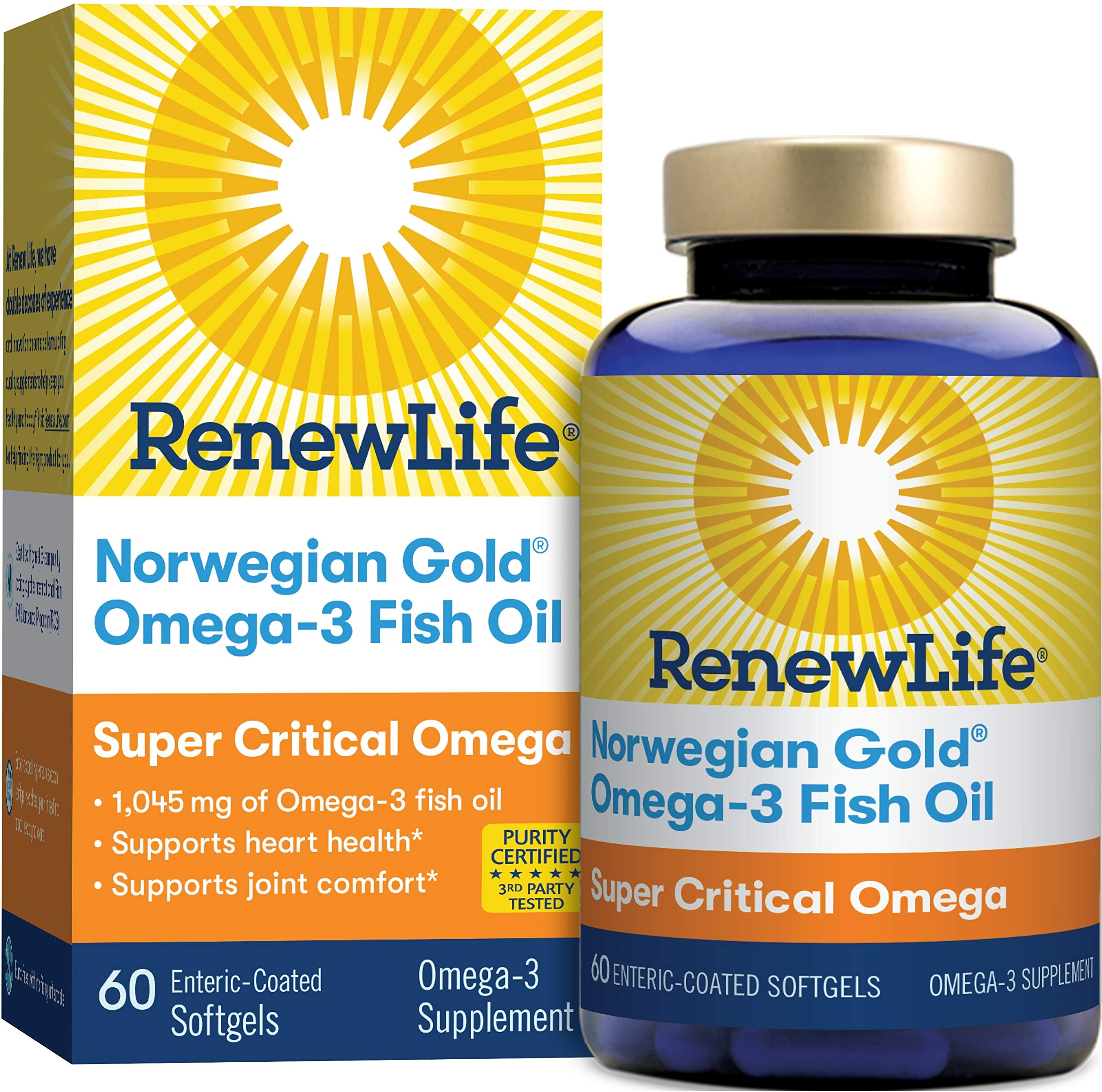 Renew Life Norwegian Gold Adult Fish Oil - Super Critical Omega, Fish Oil Omega-3 Supplement - Gluten & Dairy Free - 60 Burp-Free Softgel Capsules (Packaging May Vary) by Renew Life