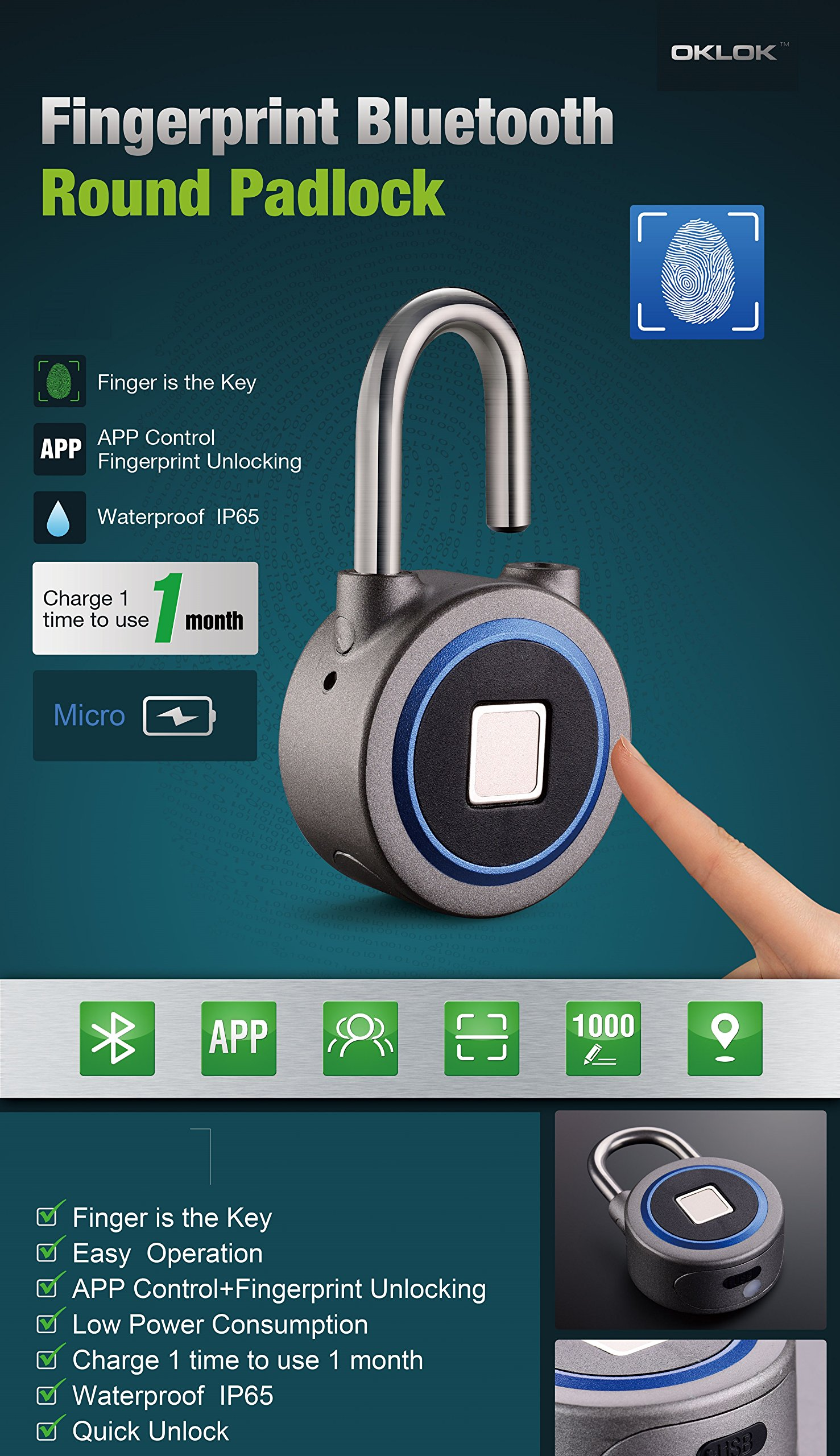 Fingerprint Padlock, Bluetooth Connection Metal Waterproof, Suitable For House Door, Backpack, Suitcase, Bike, Gym, Office, App Is Suitable For Android/Ios