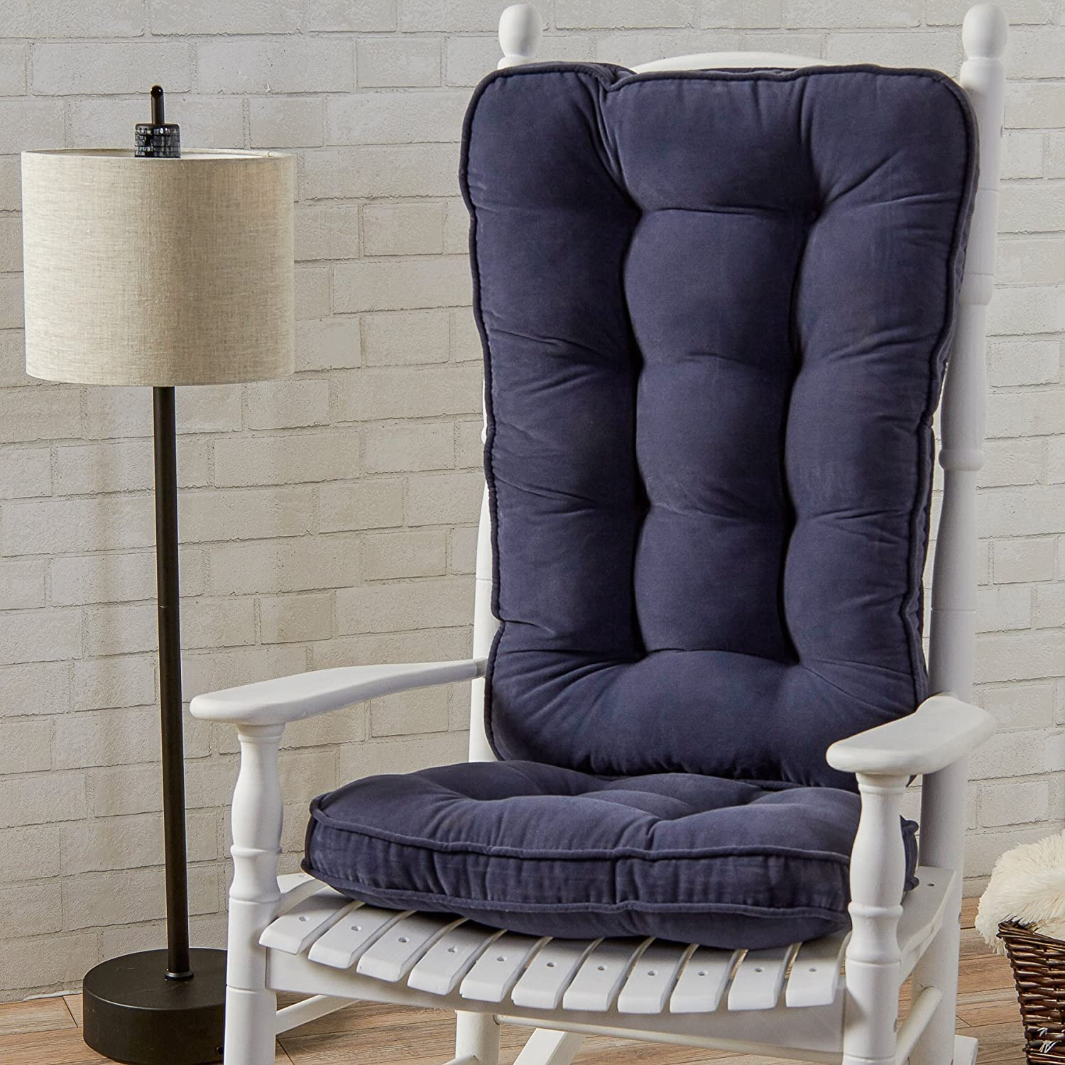 Amazon.com: Greendale Home Fashions Jumbo Rocking Chair Cushion Set Hyatt  Fabric, Denim: Home U0026 Kitchen